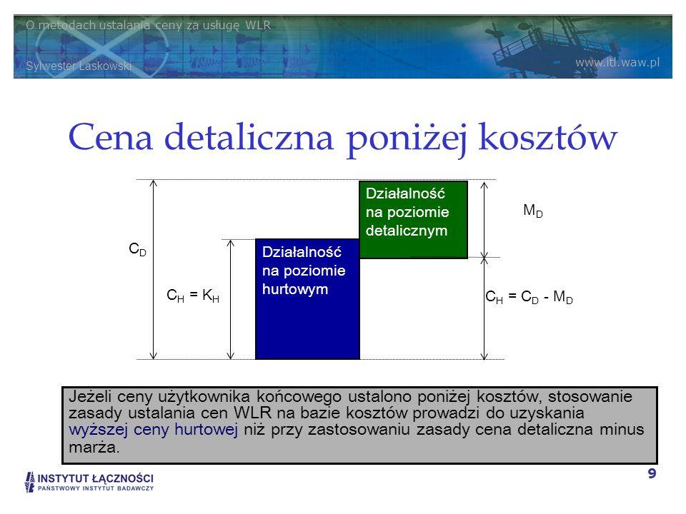 O metodach ustalania ceny za usługę WLR Sylwester Laskowski www.itl.waw.pl 9 Cena detaliczna poniżej kosztów Działalność na poziomie hurtowym Działaln