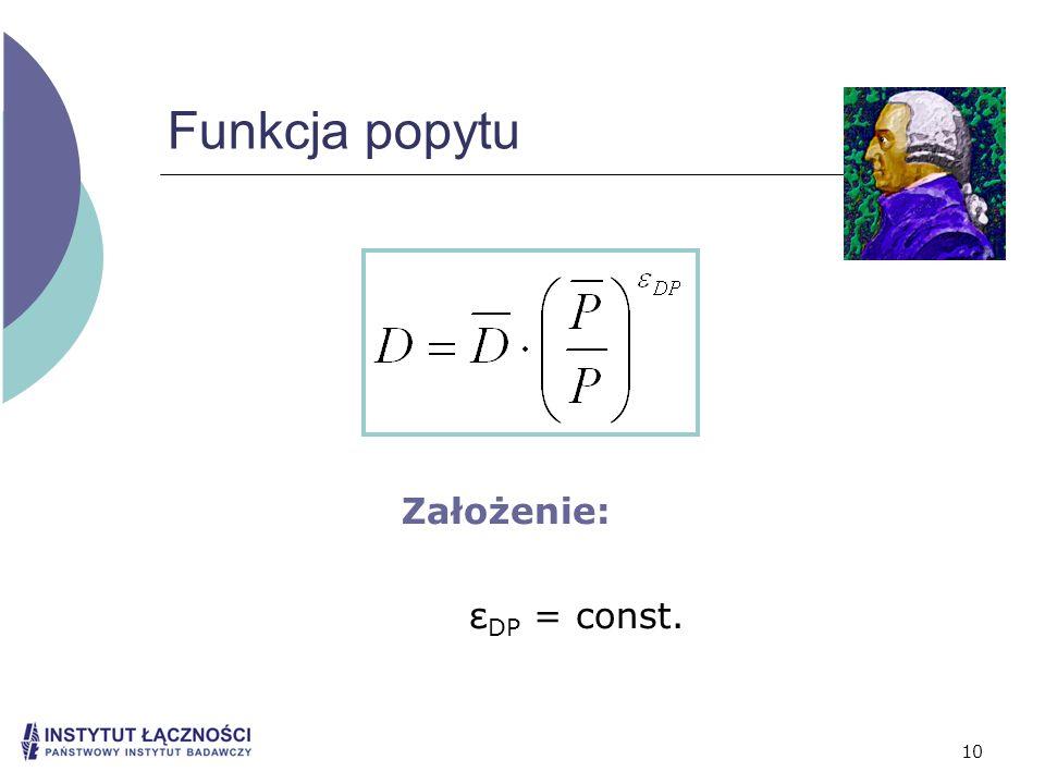10 Funkcja popytu Założenie: ε DP = const.