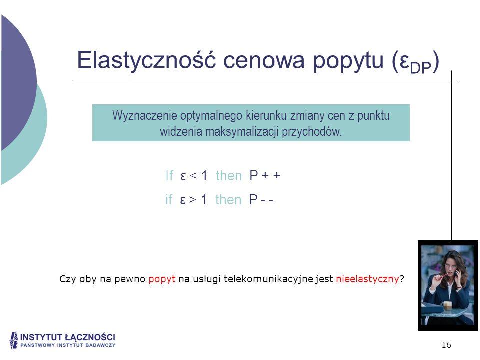 16 Elastyczność cenowa popytu (ε DP ) Wyznaczenie optymalnego kierunku zmiany cen z punktu widzenia maksymalizacji przychodów. If ε < 1 then P + + if