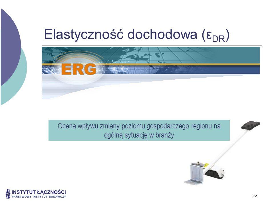 24 Elastyczność dochodowa (ε DR ) Ocena wpływu zmiany poziomu gospodarczego regionu na ogólną sytuację w branży