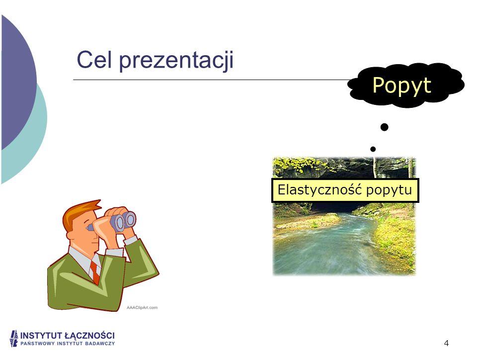 4 Cel prezentacji Popyt Elastyczność popytu