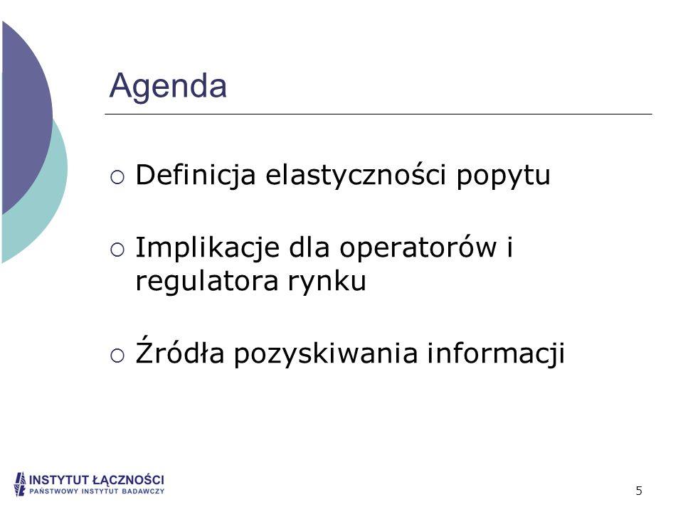 5 Agenda Definicja elastyczności popytu Implikacje dla operatorów i regulatora rynku Źródła pozyskiwania informacji