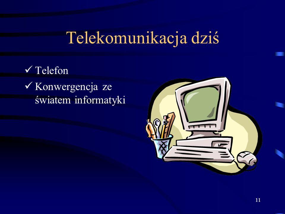11 Telekomunikacja dziś Telefon Konwergencja ze światem informatyki