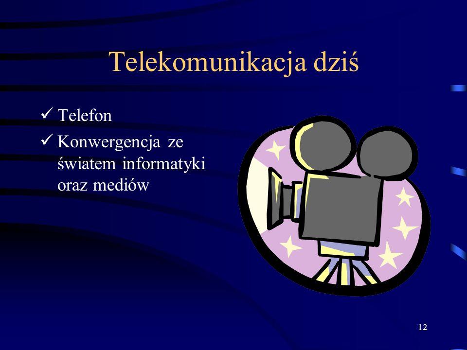 12 Telekomunikacja dziś Telefon Konwergencja ze światem informatyki oraz mediów