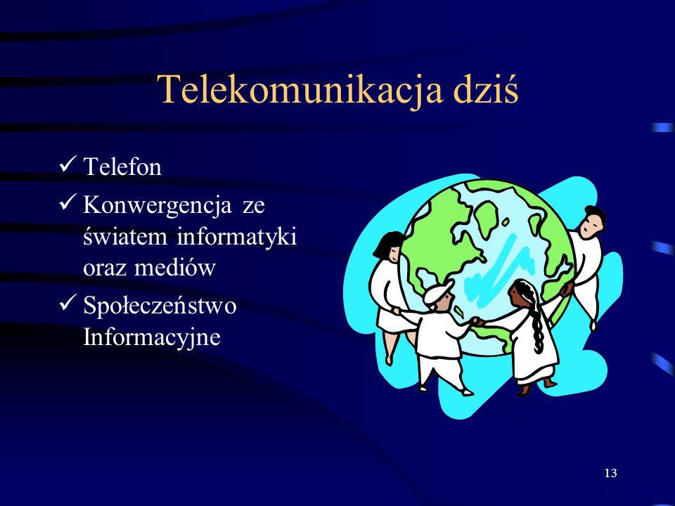13 Telekomunikacja dziś Telefon Konwergencja ze światem informatyki oraz mediów Społeczeństwo Informacyjne