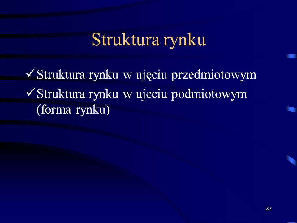 23 Struktura rynku Struktura rynku w ujęciu przedmiotowym Struktura rynku w ujeciu podmiotowym (forma rynku)