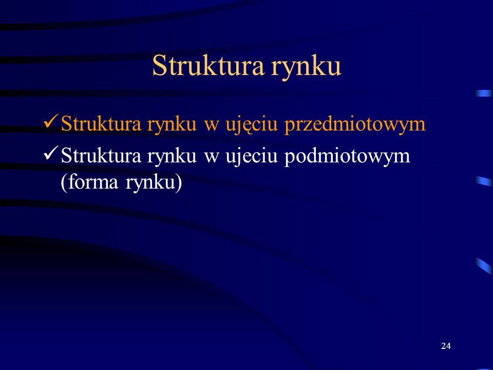 24 Struktura rynku Struktura rynku w ujęciu przedmiotowym Struktura rynku w ujeciu podmiotowym (forma rynku)