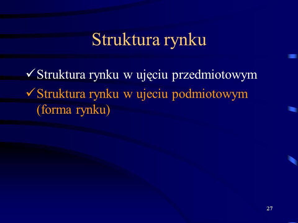 27 Struktura rynku Struktura rynku w ujęciu przedmiotowym Struktura rynku w ujeciu podmiotowym (forma rynku)