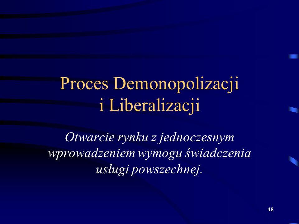 48 Proces Demonopolizacji i Liberalizacji Otwarcie rynku z jednoczesnym wprowadzeniem wymogu świadczenia usługi powszechnej.