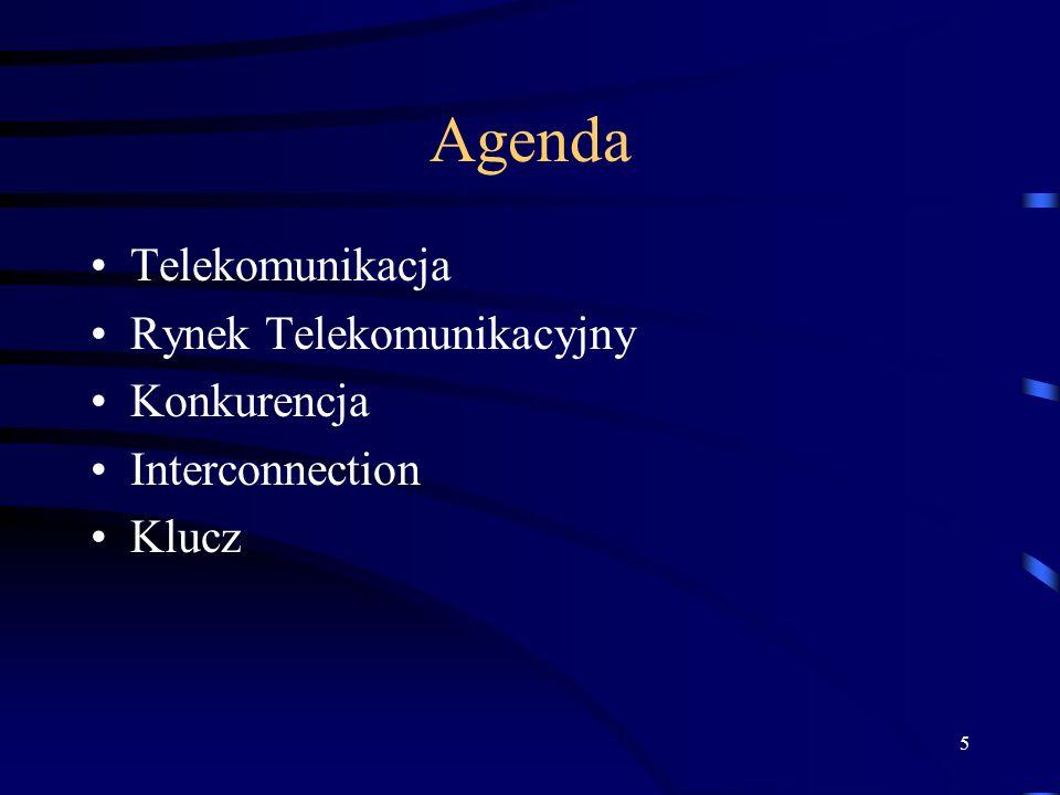 5 Agenda Telekomunikacja Rynek Telekomunikacyjny Konkurencja Interconnection Klucz