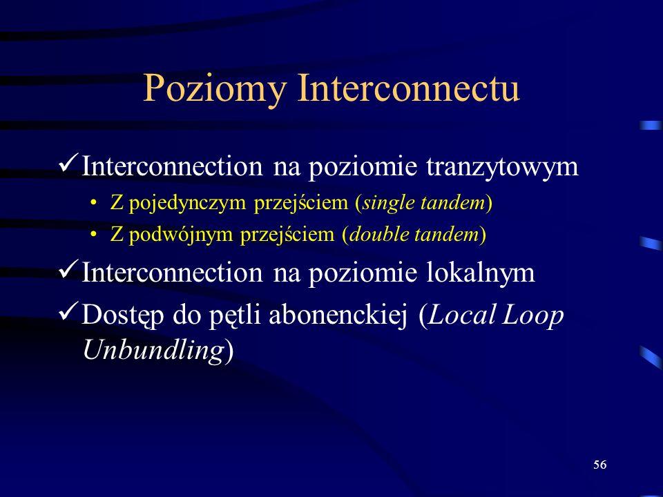 56 Poziomy Interconnectu Interconnection na poziomie tranzytowym Z pojedynczym przejściem (single tandem) Z podwójnym przejściem (double tandem) Inter