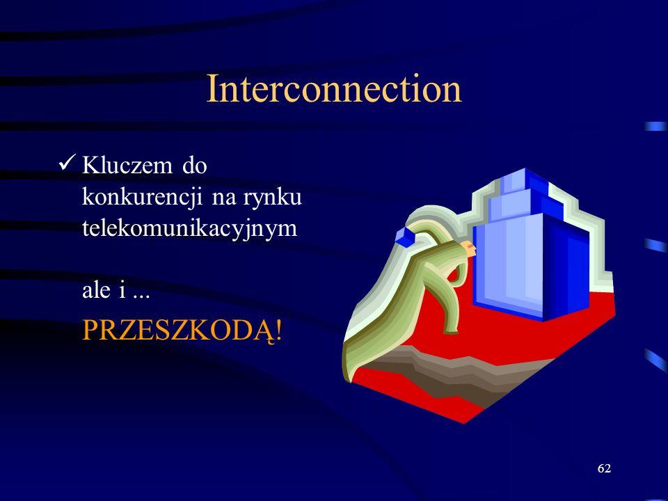62 Interconnection Kluczem do konkurencji na rynku telekomunikacyjnym ale i... PRZESZKODĄ!
