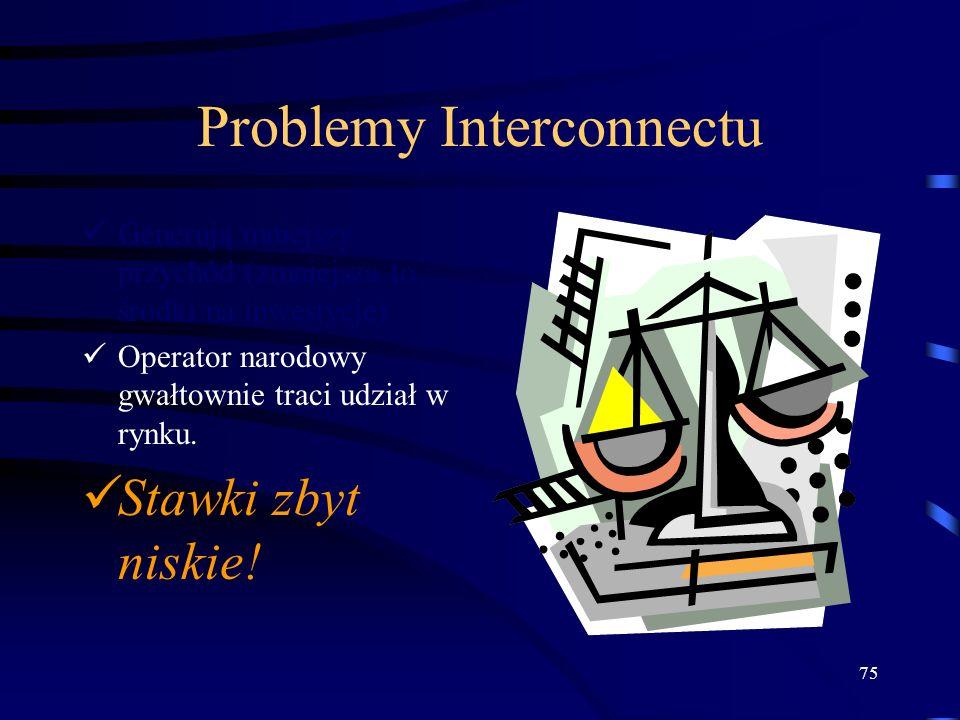 75 Problemy Interconnectu Generują mniejszy przychód (zmniejsza to środki na inwestycje) Operator narodowy gwałtownie traci udział w rynku. Stawki zby