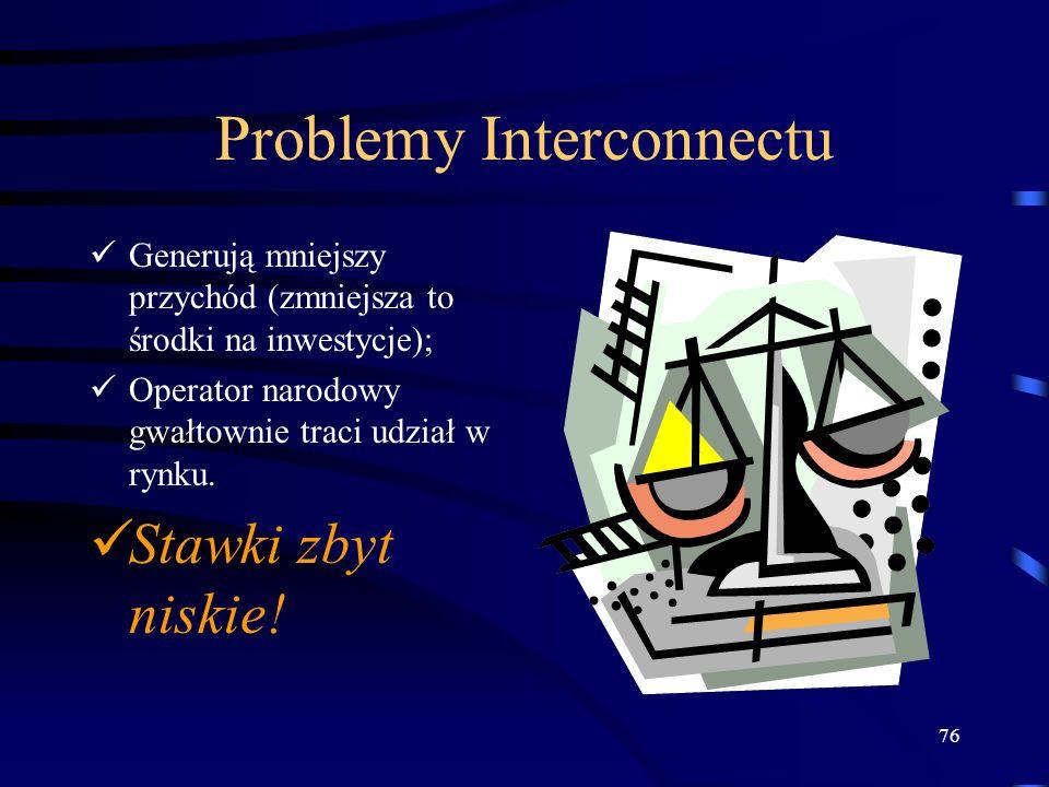 76 Problemy Interconnectu Generują mniejszy przychód (zmniejsza to środki na inwestycje); Operator narodowy gwałtownie traci udział w rynku. Stawki zb