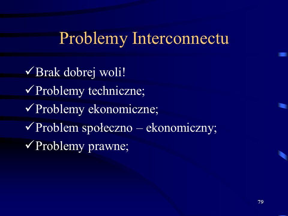 79 Problemy Interconnectu Brak dobrej woli! Problemy techniczne; Problemy ekonomiczne; Problem społeczno – ekonomiczny; Problemy prawne;