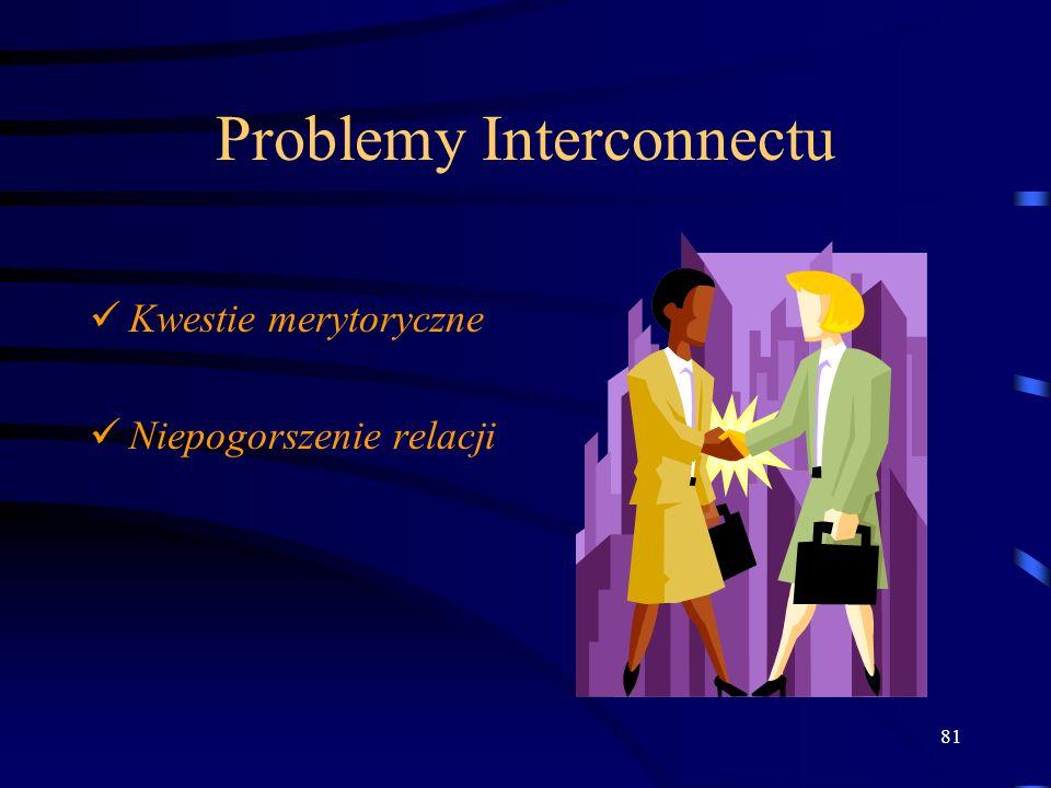 81 Problemy Interconnectu Kwestie merytoryczne Niepogorszenie relacji