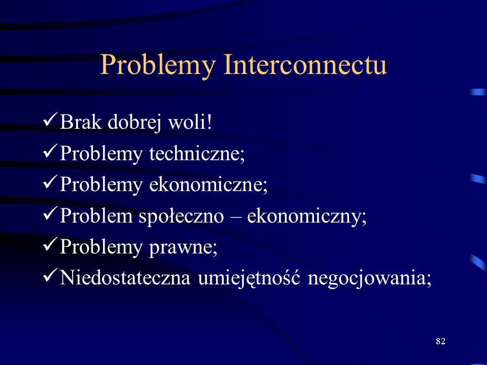 82 Problemy Interconnectu Brak dobrej woli! Problemy techniczne; Problemy ekonomiczne; Problem społeczno – ekonomiczny; Problemy prawne; Niedostateczn