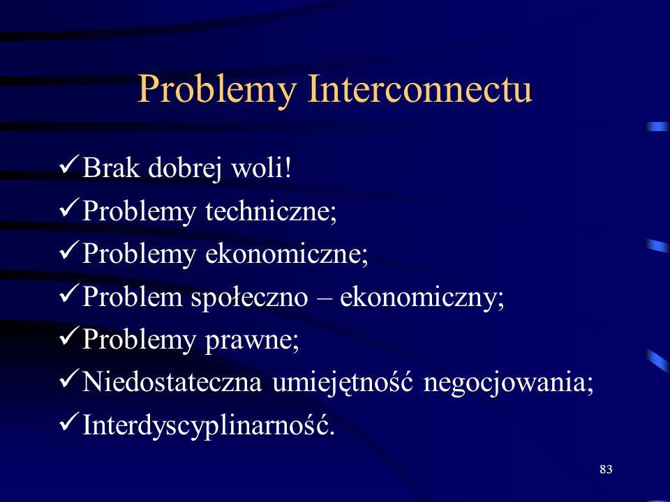 83 Problemy Interconnectu Brak dobrej woli! Problemy techniczne; Problemy ekonomiczne; Problem społeczno – ekonomiczny; Problemy prawne; Niedostateczn