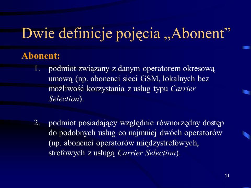 11 Dwie definicje pojęcia Abonent Abonent: 1.podmiot związany z danym operatorem okresową umową (np. abonenci sieci GSM, lokalnych bez możliwość korzy