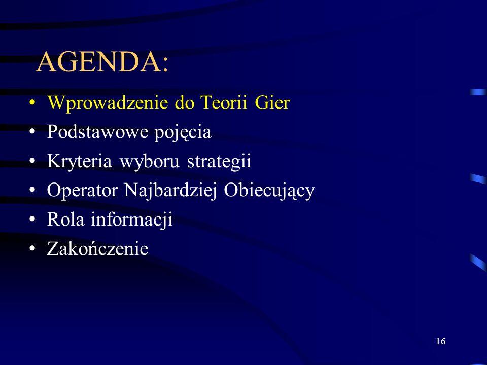 16 AGENDA: Wprowadzenie do Teorii Gier Podstawowe pojęcia Kryteria wyboru strategii Operator Najbardziej Obiecujący Rola informacji Zakończenie