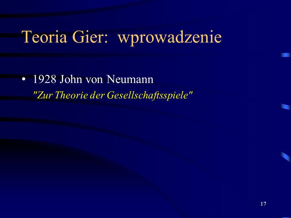 17 Teoria Gier: wprowadzenie 1928 John von Neumann