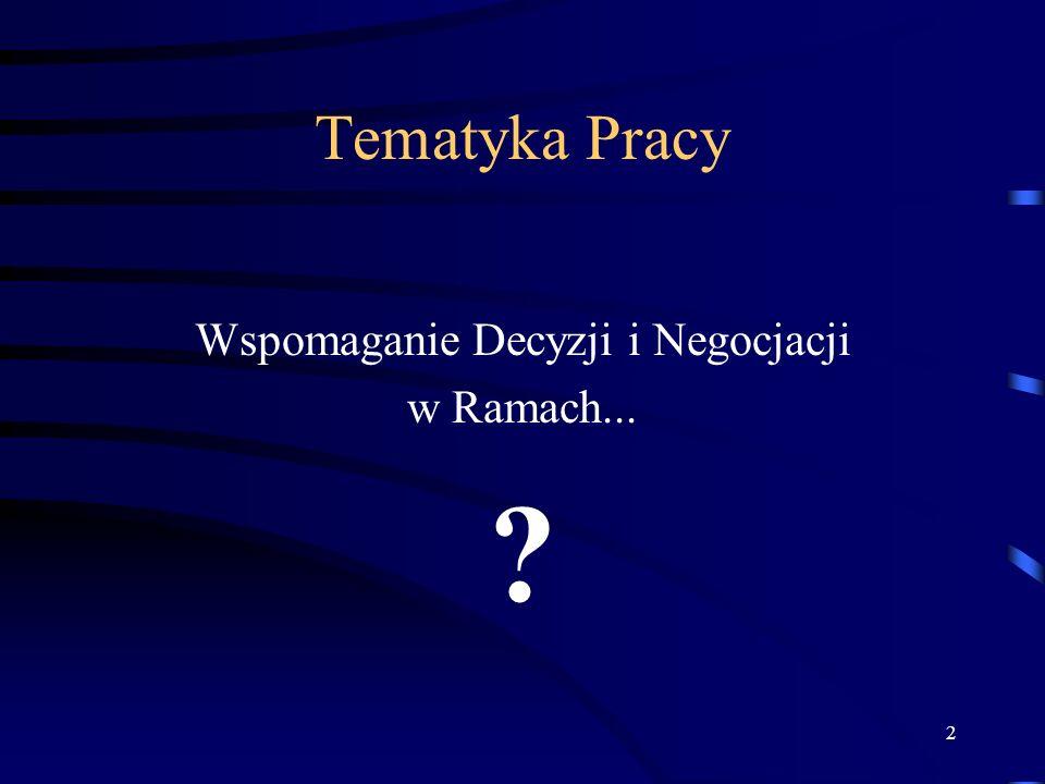 2 Tematyka Pracy Wspomaganie Decyzji i Negocjacji w Ramach... ?