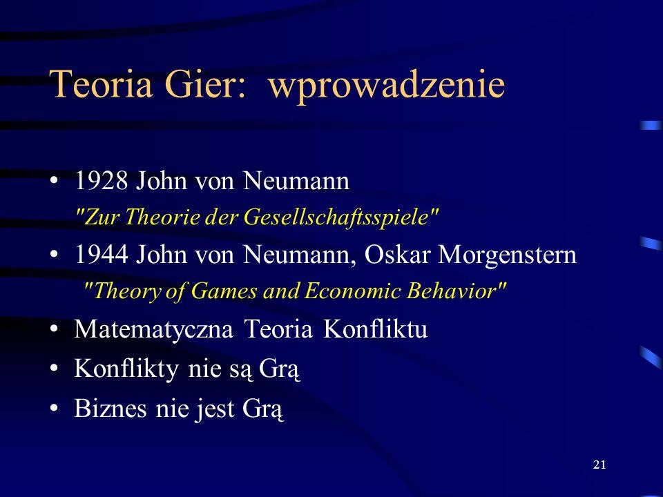 21 Teoria Gier: wprowadzenie 1928 John von Neumann