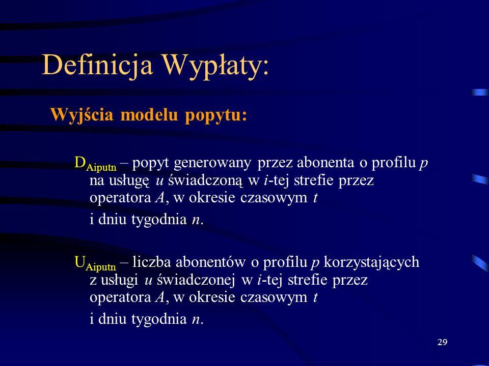 29 Definicja Wypłaty: Wyjścia modelu popytu: D Aiputn – popyt generowany przez abonenta o profilu p na usługę u świadczoną w i-tej strefie przez opera