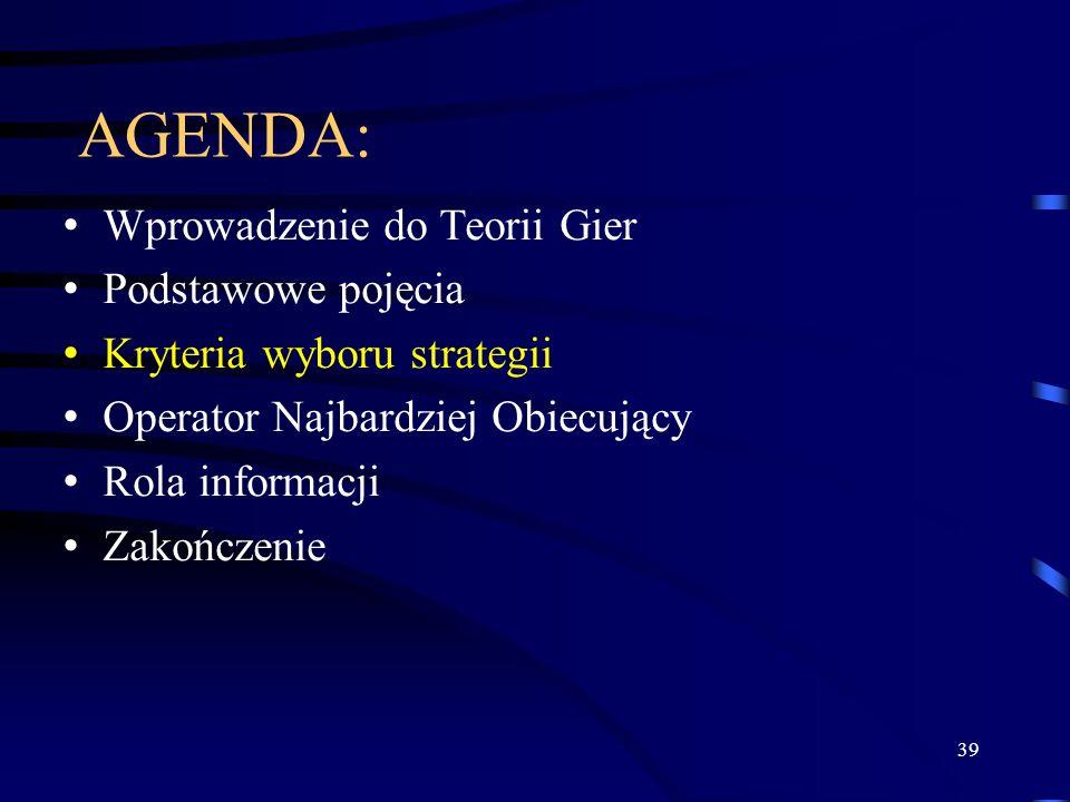 39 AGENDA: Wprowadzenie do Teorii Gier Podstawowe pojęcia Kryteria wyboru strategii Operator Najbardziej Obiecujący Rola informacji Zakończenie