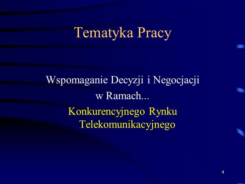 4 Tematyka Pracy Wspomaganie Decyzji i Negocjacji w Ramach... Konkurencyjnego Rynku Telekomunikacyjnego