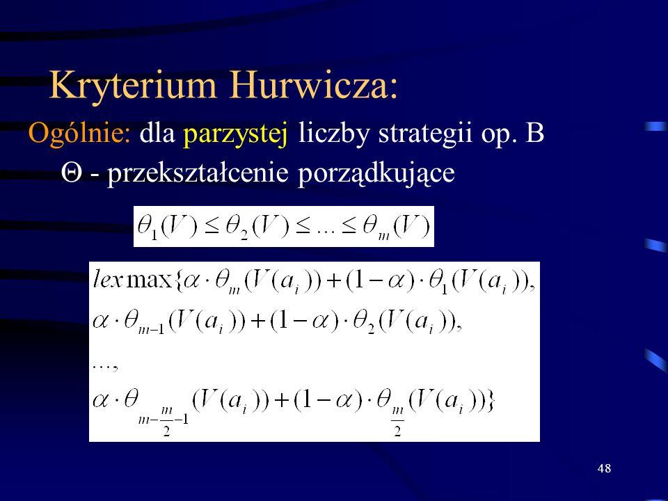 48 Kryterium Hurwicza: Ogólnie: dla parzystej liczby strategii op. B - przekształcenie porządkujące