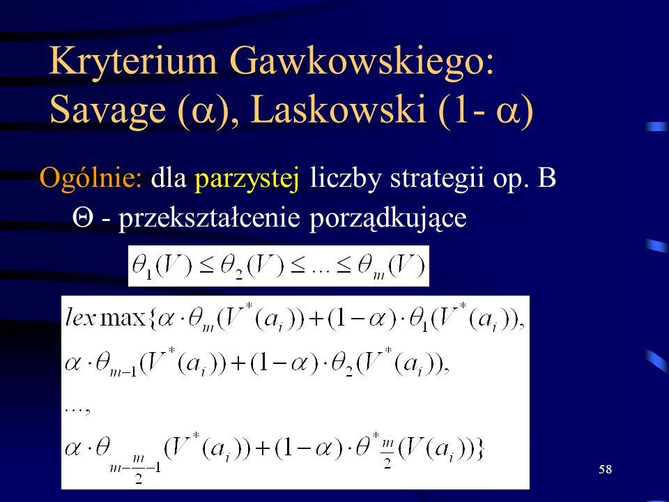 58 Kryterium Gawkowskiego: Savage ( ), Laskowski (1- ) Ogólnie: dla parzystej liczby strategii op. B - przekształcenie porządkujące