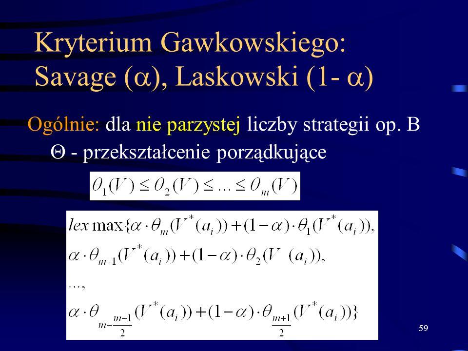 59 Kryterium Gawkowskiego: Savage ( ), Laskowski (1- ) Ogólnie: dla nie parzystej liczby strategii op. B - przekształcenie porządkujące