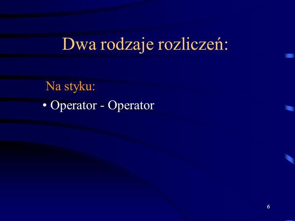 6 Dwa rodzaje rozliczeń: Na styku: Operator - Operator