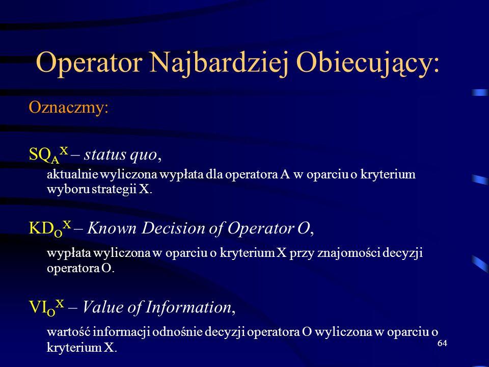 64 Operator Najbardziej Obiecujący: Oznaczmy: SQ A X – status quo, aktualnie wyliczona wypłata dla operatora A w oparciu o kryterium wyboru strategii