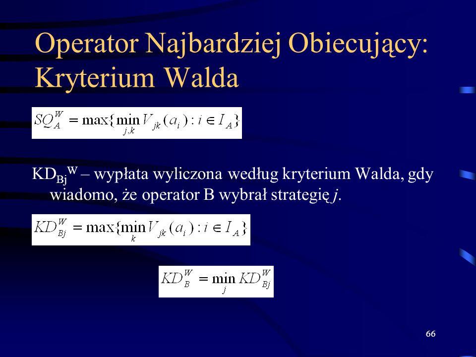 66 Operator Najbardziej Obiecujący: Kryterium Walda KD Bj W – wypłata wyliczona według kryterium Walda, gdy wiadomo, że operator B wybrał strategię j.