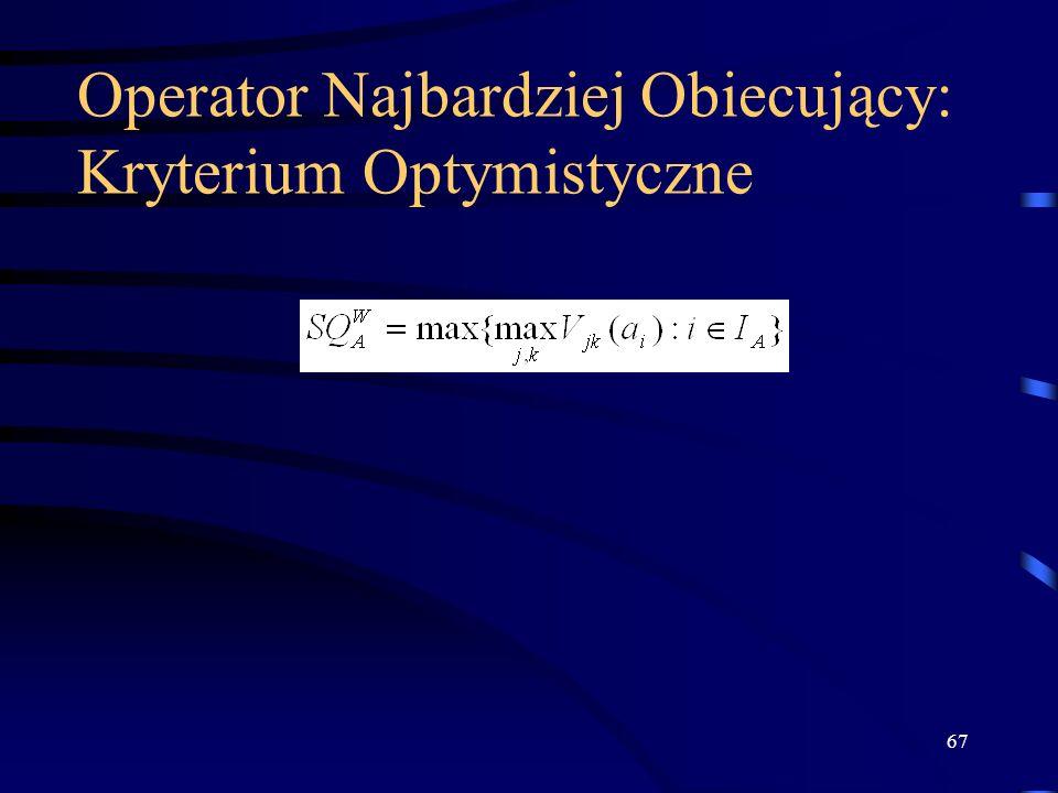 67 Operator Najbardziej Obiecujący: Kryterium Optymistyczne