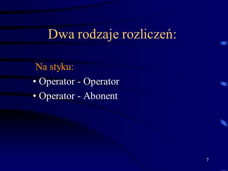 7 Dwa rodzaje rozliczeń: Na styku: Operator - Operator Operator - Abonent