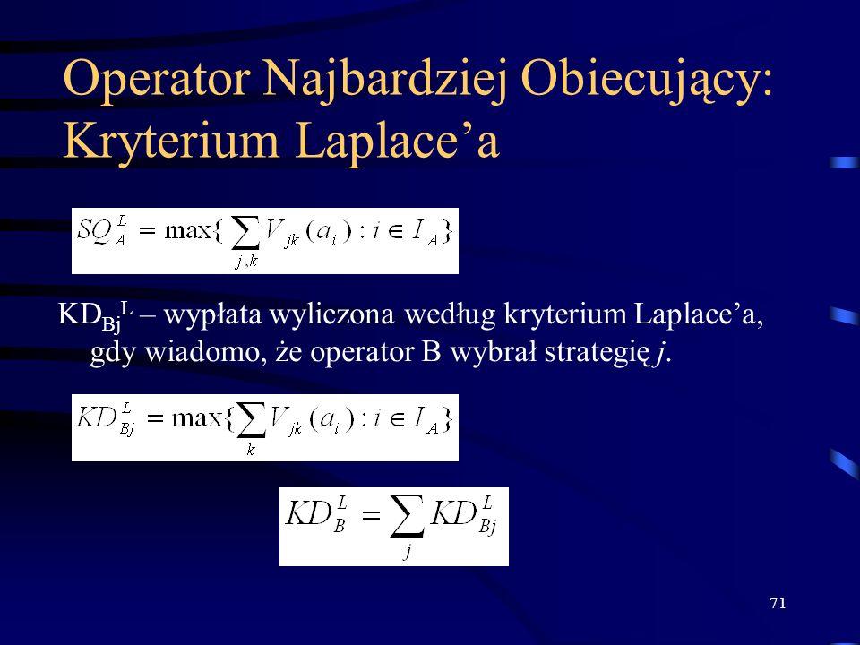 71 Operator Najbardziej Obiecujący: Kryterium Laplacea KD Bj L – wypłata wyliczona według kryterium Laplacea, gdy wiadomo, że operator B wybrał strate