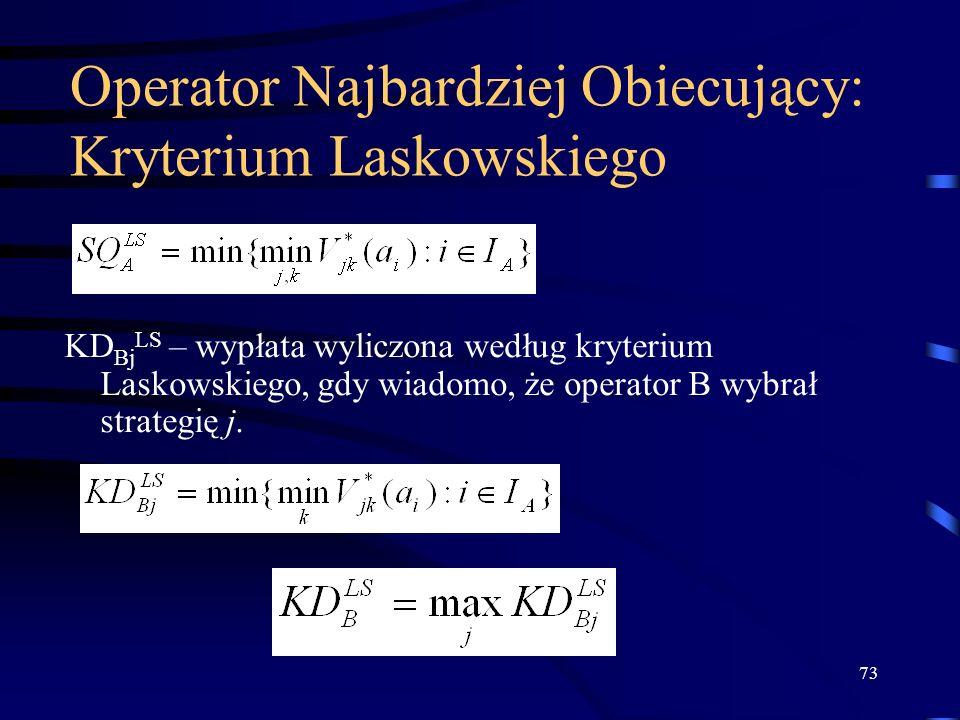 73 Operator Najbardziej Obiecujący: Kryterium Laskowskiego KD Bj LS – wypłata wyliczona według kryterium Laskowskiego, gdy wiadomo, że operator B wybr