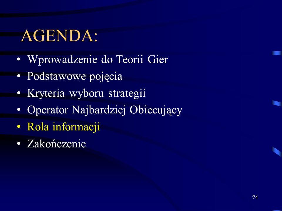 74 AGENDA: Wprowadzenie do Teorii Gier Podstawowe pojęcia Kryteria wyboru strategii Operator Najbardziej Obiecujący Rola informacji Zakończenie