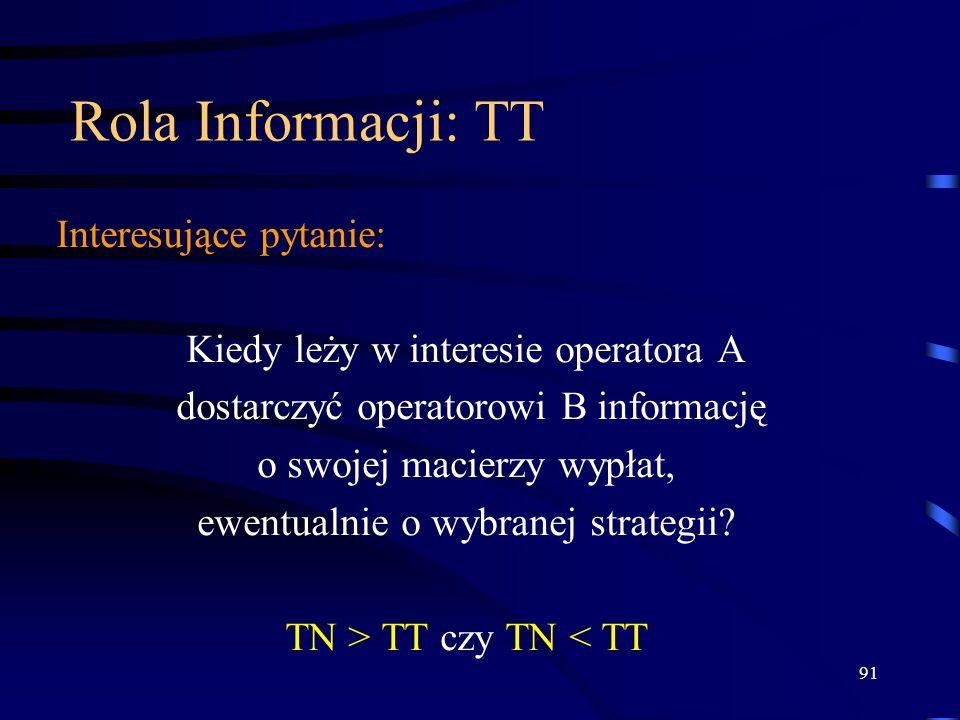 91 Rola Informacji: TT Interesujące pytanie: Kiedy leży w interesie operatora A dostarczyć operatorowi B informację o swojej macierzy wypłat, ewentual
