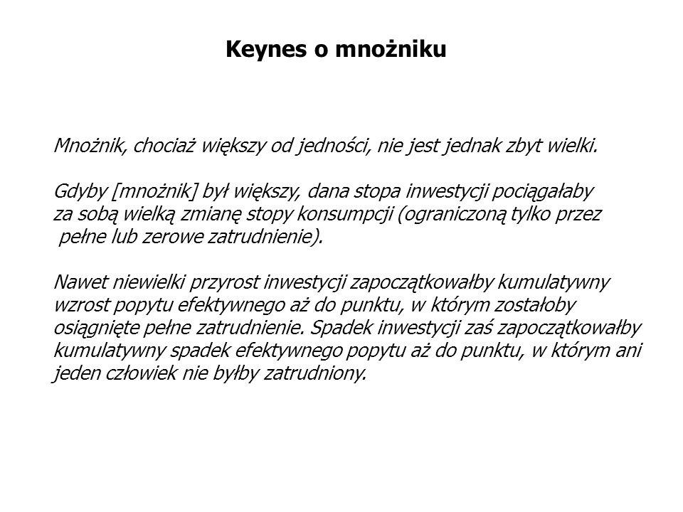 Keynes o mnożniku Mnożnik, chociaż większy od jedności, nie jest jednak zbyt wielki. Gdyby [mnożnik] był większy, dana stopa inwestycji pociągałaby za
