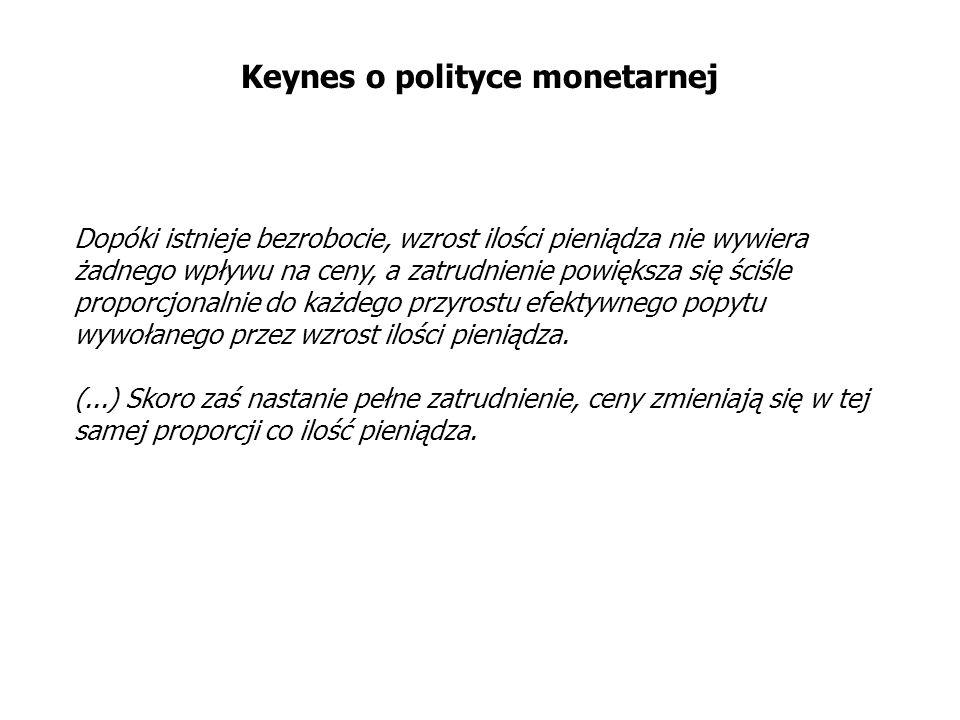 Keynes o polityce monetarnej Dopóki istnieje bezrobocie, wzrost ilości pieniądza nie wywiera żadnego wpływu na ceny, a zatrudnienie powiększa się ściś