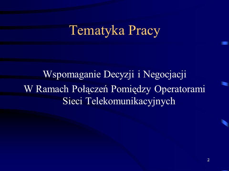 2 Tematyka Pracy Wspomaganie Decyzji i Negocjacji W Ramach Połączeń Pomiędzy Operatorami Sieci Telekomunikacyjnych