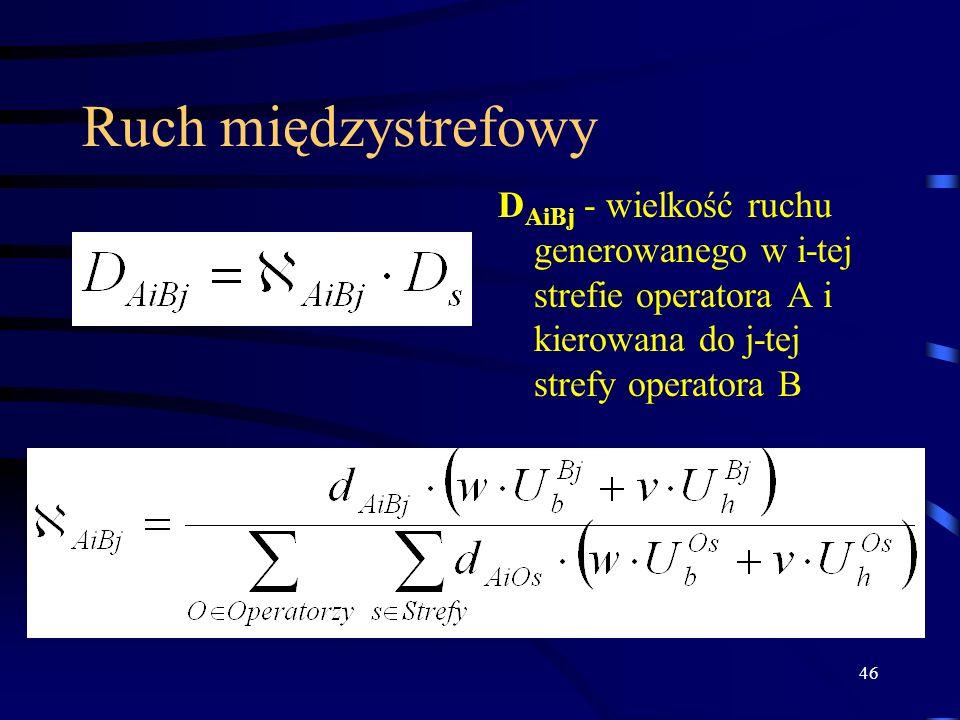 46 Ruch międzystrefowy D AiBj - wielkość ruchu generowanego w i-tej strefie operatora A i kierowana do j-tej strefy operatora B