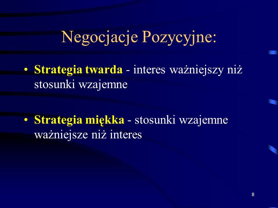 8 Negocjacje Pozycyjne: Strategia twarda - interes ważniejszy niż stosunki wzajemne Strategia miękka - stosunki wzajemne ważniejsze niż interes