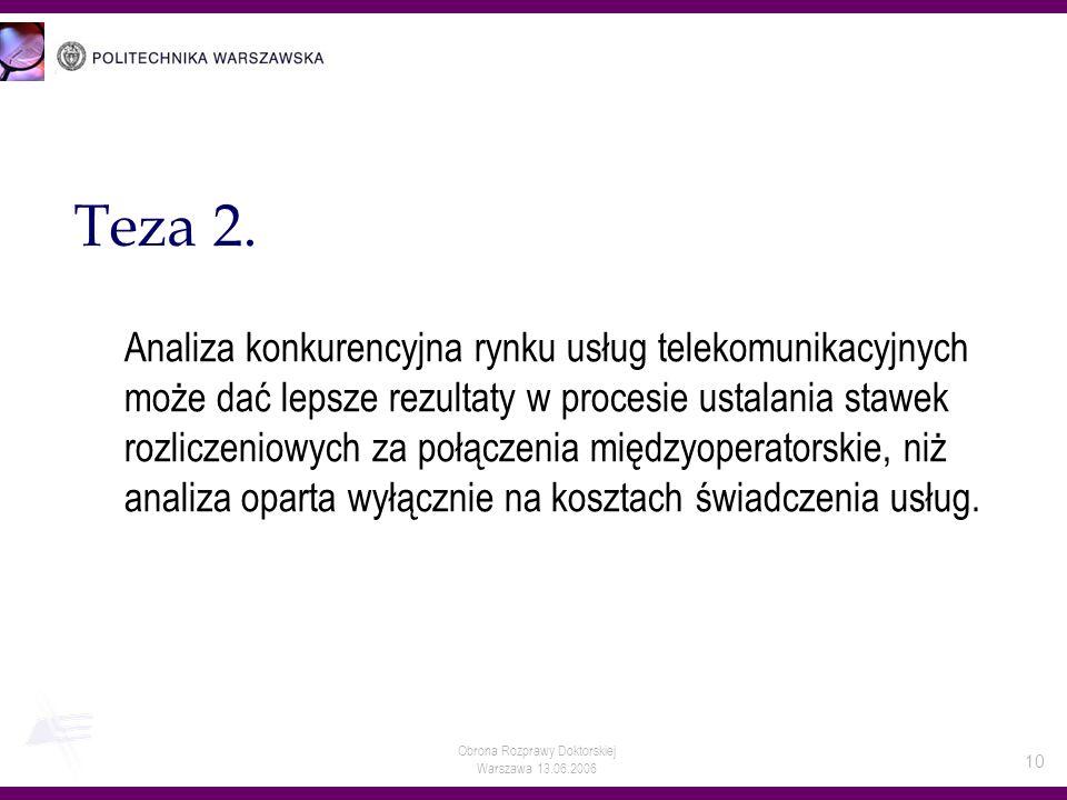Obrona Rozprawy Doktorskiej Warszawa 13.06.2006 10 Teza 2. Analiza konkurencyjna rynku usług telekomunikacyjnych może dać lepsze rezultaty w procesie