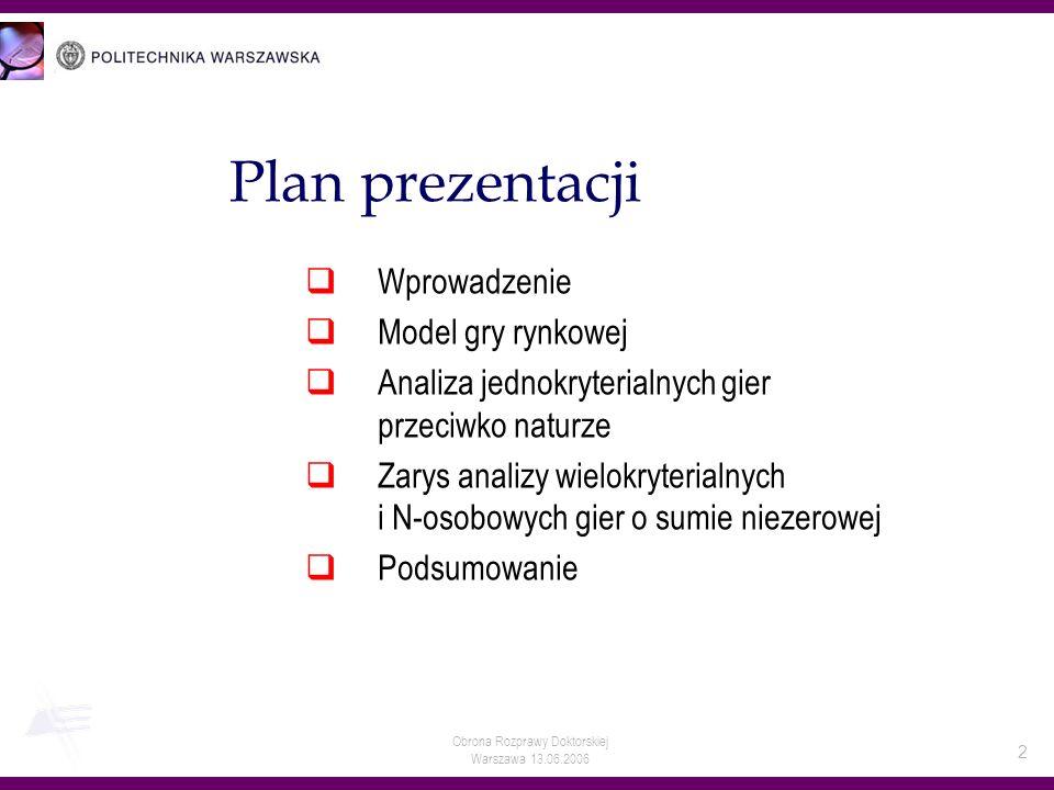 Warszawa 13.06.2006 2 Plan prezentacji Wprowadzenie Model gry rynkowej Analiza jednokryterialnych gier przeciwko naturze Zarys analizy wielokryterialn