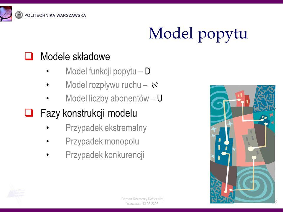 Obrona Rozprawy Doktorskiej Warszawa 13.06.2006 23 Model popytu Modele składowe Model funkcji popytu – D Model rozpływu ruchu – Model liczby abonentów